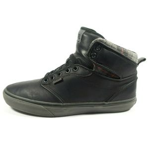 Vans Black Leather Plaid Hi Top Shoes